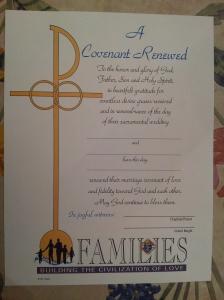"""KofC Certificate """"Covenant of Renewal"""""""