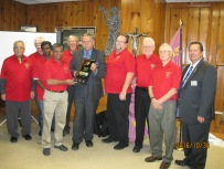 DD Joe presents Grand Knight Norman Monteiro with the Double Star Award. That's Star Council, 2 years in a row !