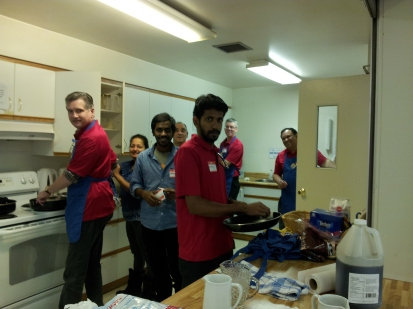 A small kitchen but busy with volunteers with big hearts.