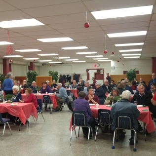 A very good turnout at the Annual Social and Open House. Brother Richard at the microphone.
