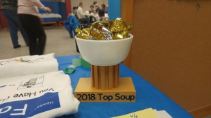 """The winner of the """"Soup-Off"""" - Deacon Lyle! Chief Organizer Eric Madej made this stand on his new toy - a 3D printer! :)"""