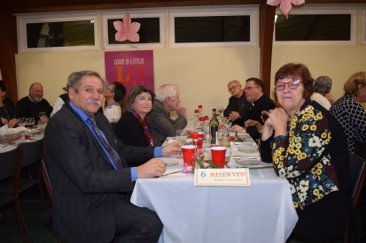 DD Joe Sawzhuk and Valerie at the Knights table with Fr Savel, Ted Davies, Brendan Fleming and Sue Gimpel