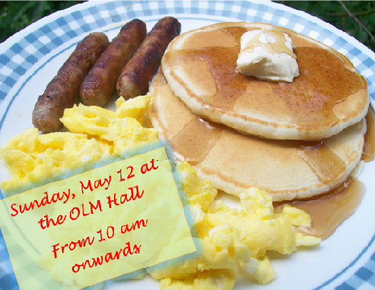 Sunday, May 12 – MOTHERS DAY BREAKFAST
